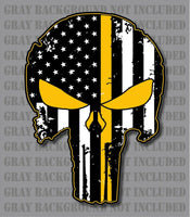 Thin Yellow Line Punisher Skull American Flag Tow Wrecker Truck Recovery Decal