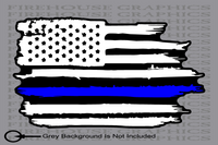 Thin Blue Line Police officer American flag diesel sticker decal