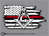 Thin Red Line Firefighter Mason Masonic  American flag sticker Decal
