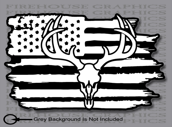White tail deer skull hunting buck American flag sticker Decal