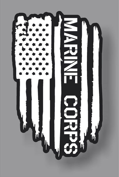 USMC Marine Corps veteran American Flag sticker decal