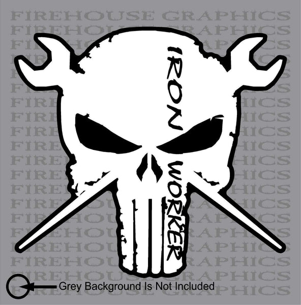 Punisher Ironworker Steelworker Skull Window Vinyl Sticker Decal