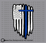 American Flag Thin Blue line Police Cross Jesus Decal Sticker