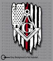 Thin Red Line Firefighter Masons masonic Freemasons American flag sticker decal