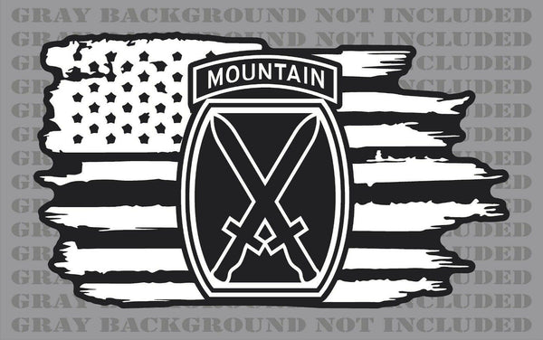 10th Mountain Division Army American Veteran Flag sticker decal