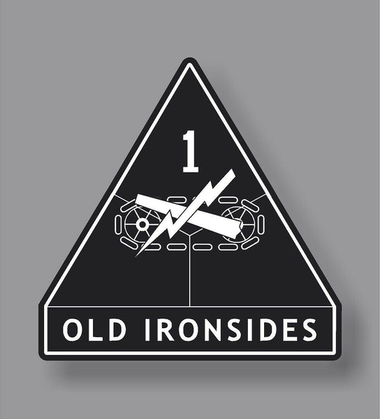 1st Armored Division Ironsides Army Veteran Military American Flag sticker decal