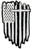 Christian Cross Jesus Bible God American flag sticker decal