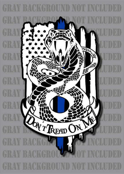 Police Thin Blue Line Don't Tread On Me Gadsden Rattlesnake American Flag Law