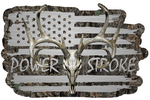 American Flag Powerstroke Ford F250 F350 Whitetail Buck Skull Hunting Deer Decal