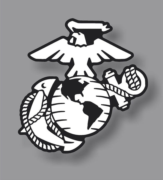 USMC Marine Corp EGA Veteran Eagle American flag weathered vinyl sticker decal