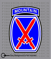10th Mountain Division Army American Flag sticker decal