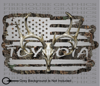 American Flag Toyota TRD Truck Whitetail Buck Skull Camo Hunting Deer Decal