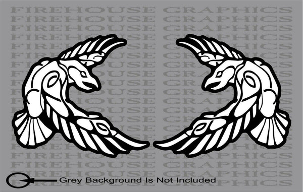 2 Pack Huginn Muninn Odin thor viking norse wolf raven rune sticker decal