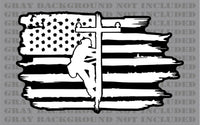 Lineman Linesman Power line Pole American flag vinyl sticker decal
