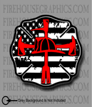 American Flag Thin Red line Maltese Cross Firefighter Halligan Axe Helmet Cross Decal Sticker