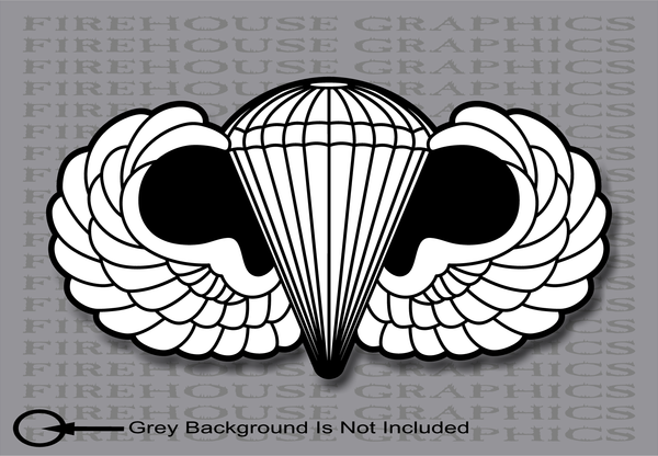 NonReflective or Reflective Airborne Division Parachutist Silver Jump Wings Army sticker decal