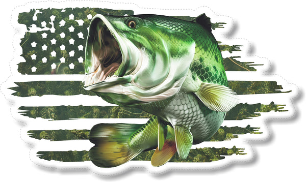 Largemouth Bass American Flag Decals Fishing