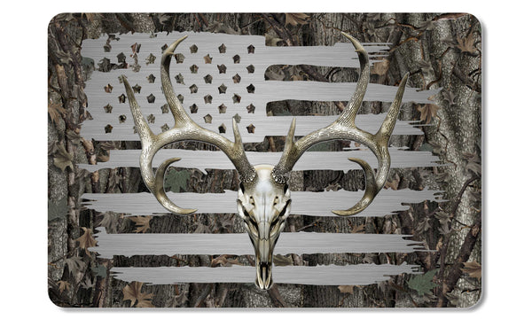 American Flag Whitetail Buck Skull Camo Cooler Lid Skin Decal