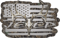 American Flag Jeep White Tail Buck Decal
