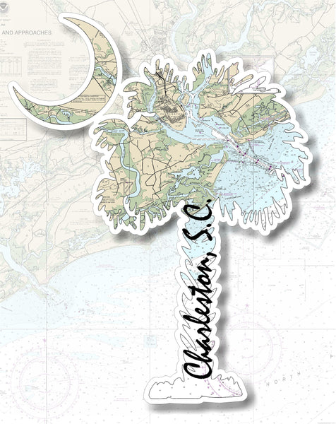 Carolina Palm and Crescent Moon Charleston Nautical Chart Vinyl Decal