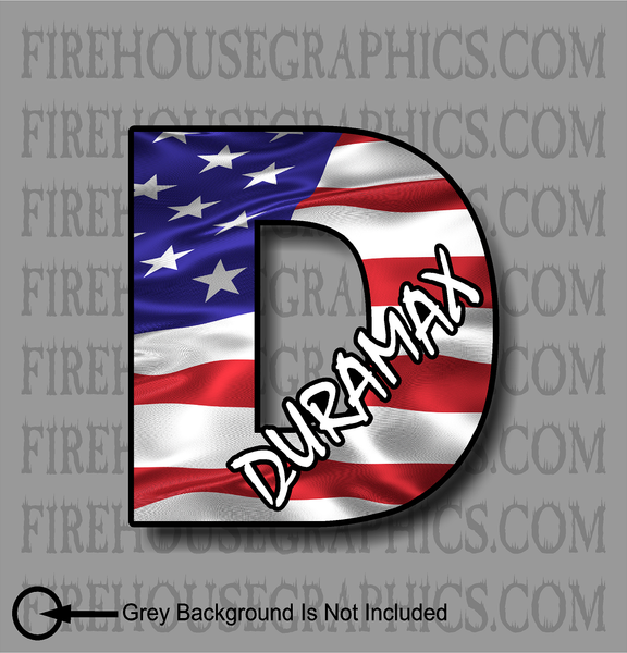 Chevrolet Duramax D American flag sticker decal