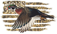 American Flag Wood Duck Decal