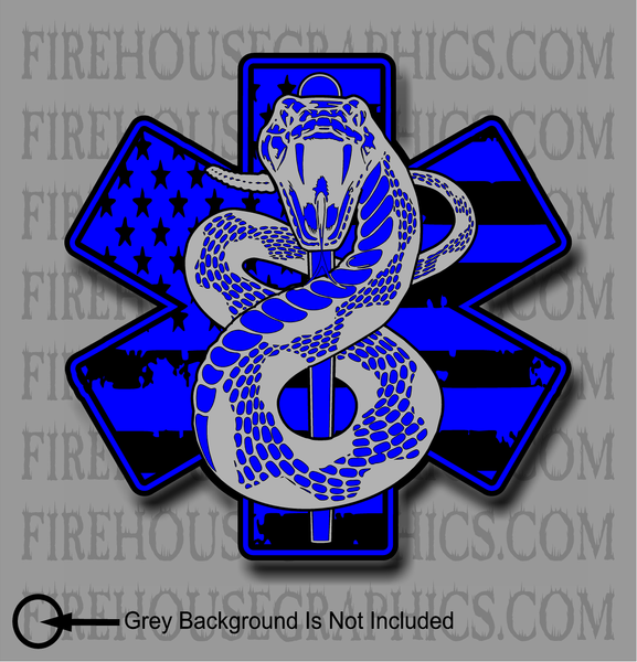 American Flag Star of Life EMS Decal Sticker