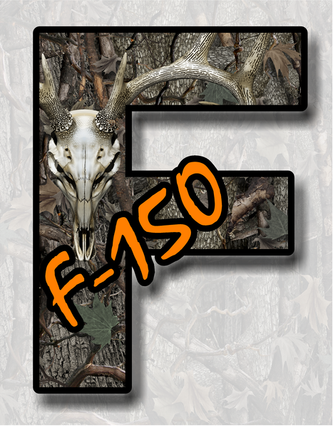 Ford F-150 F-Series Camouflage Buck Skull Truck sticker decal