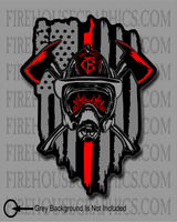 American Flag Thin Red line Firefighter Crossed Axe Helmet SCBA Decal Sticker