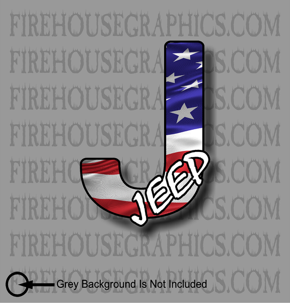 Jeep Wrangler American flag sticker decal