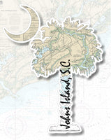 Carolina Palm and Crescent Moon Johns Island Nautical Chart Vinyl Decal