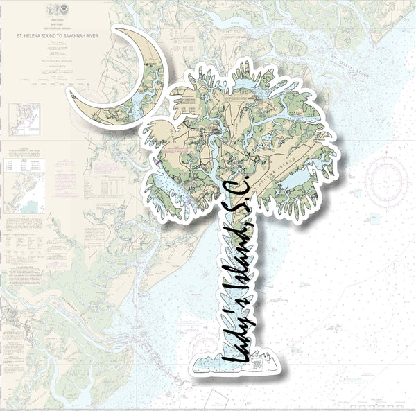 Carolina Palm and Crescent Moon Lady's Island Nautical Chart Vinyl Decal