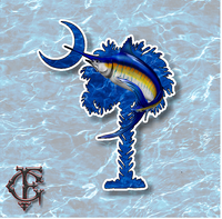 South Carolina Palm and Crescent Moon Blue Marlin Vinyl Decal