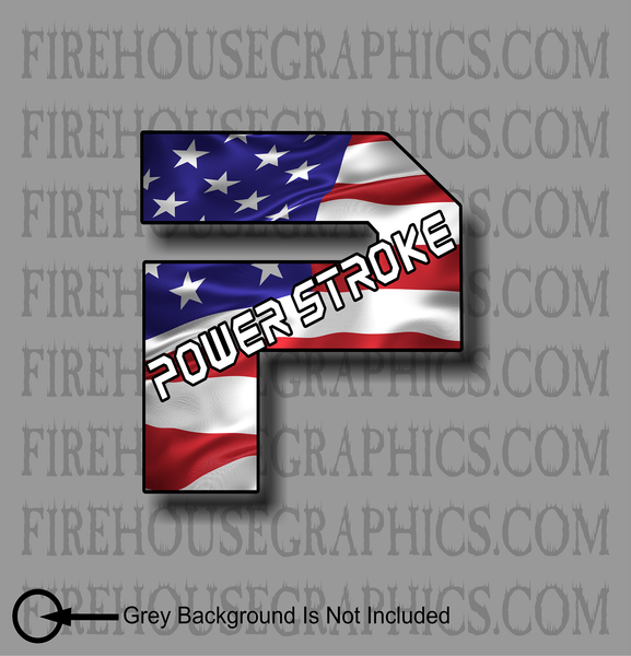 New Style Ford F-250 F-350 P Powerstroke Superduty American flag diesel sticker decal