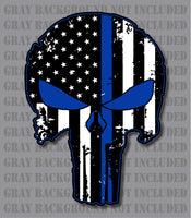 Thin Blue Line Punisher Skull Police Officer Decal