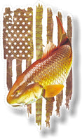 Redfish Red Drum Spottail Bass American Flag Decals Fishing