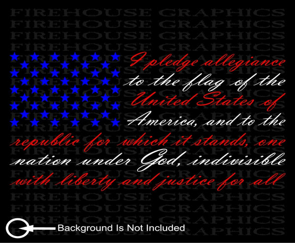 Red White Blue American flag Pledge of Allegiance vinyl sticker window decal