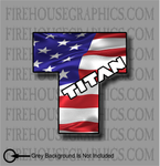 Nissan Titan American flag Truck sticker decal