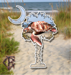 South Carolina Palm and Crescent Moon Sea Turtle Vinyl Decal