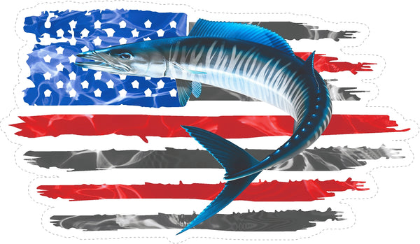 Wahoo Seatiger American Flag Decals Fishing