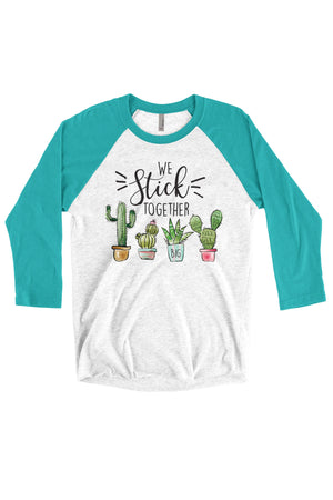 Big Little We Stick Together Shirt - Next Level Unisex Triblend 3/4-Sleeve Raglan, Ladies, Sunny and Southern, - Sunny and Southern,