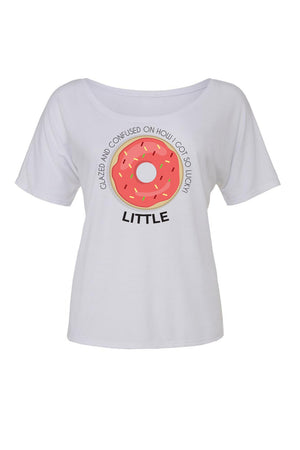 Big Little Donut Shirt - Bella Slouchy Scoop Neck Short Sleeve, Ladies, Sunny and Southern, - Sunny and Southern,