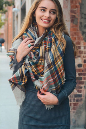 Classic Monogrammed Blanket Scarf, Ladies, Sunny and Southern, - Sunny and Southern,