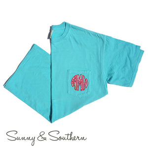 Lilly Circle Monogrammed Short Sleeve Pocket Tee, Ladies, Sunny and Southern, - Sunny and Southern,