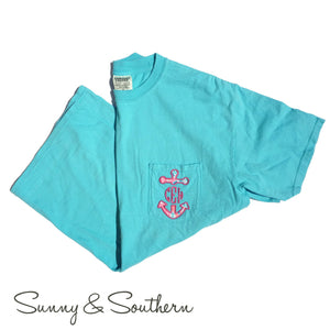 Lilly Anchor Monogrammed Short Sleeve Pocket Tee, Ladies, Sunny and Southern, - Sunny and Southern,