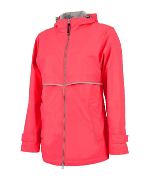Lilly Scallop Monogrammed Women's New Englander Rain Jacket, ladies, Charles River, - Sunny and Southern,