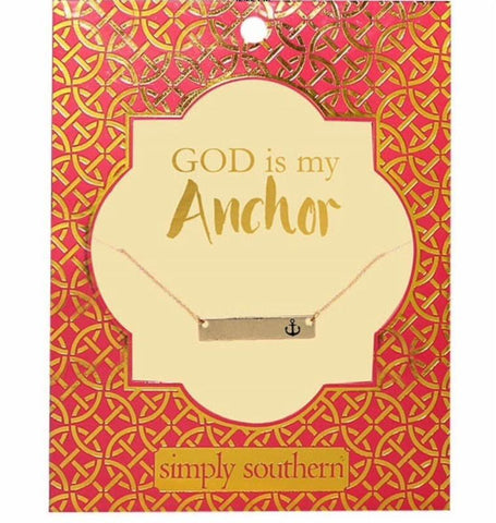 Monogrammed Simply Southern Anchor Necklace - Sunny and Southern - 1