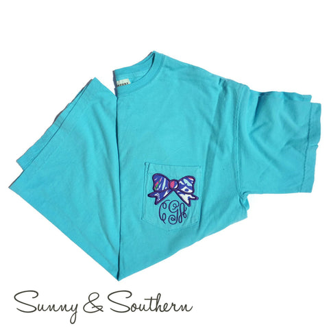 Lilly Bow Monogrammed Short Sleeve Pocket Tee
