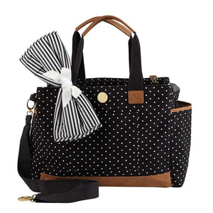 Monogrammed Large Mud Pie Black Mini Dot Diaper Bag, accessories, Mud Pie, - Sunny and Southern,