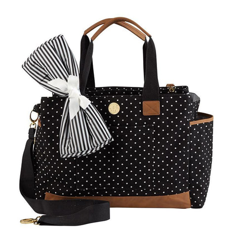 Monogrammed Monogrammed Large Mud Pie Black Mini Dot Diaper Bag - Sunny and Southern - 1